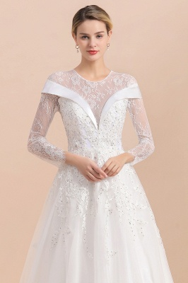 Gorgeous Long Sleeve Lace Wedding Dress | Appliques Bridal Gowns With Beadings_9