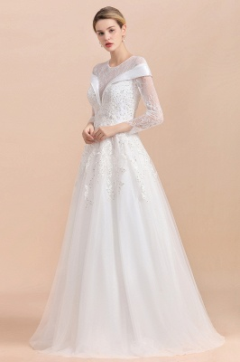 Gorgeous Long Sleeve Lace Wedding Dress | Appliques Bridal Gowns With Beadings_6