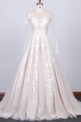 Gorgeous Longsleeves Jewel A-line Wedding Dress | White Appliques Lace Bridal Gowns_1