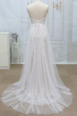 Sexy V-neck Straps Sleeveless Wedding Dress | Lace Appliques Tulle Bridal Gowns_3