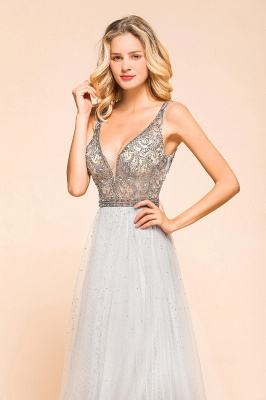 Charming V-Neck Tulle Long Prom Dress With Crystals_5
