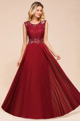Burgundy Lace Long Prom Dress | Sleeveless Chiffon Evening Gowns With Crystal_6