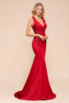 Gorgeous Red Mermaid V-Neck Prom Dress Long With Lace Appliques_7