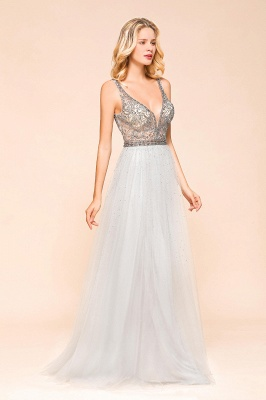 Charming V-Neck Tulle Long Prom Dress With Crystals_4