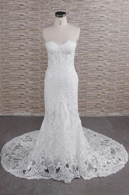 Chic Sweetheart Mermaid Lace Wedding Dress | White Sleeveless Bridal Gowns With Appliques