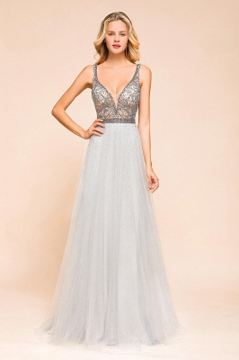 Charming V-Neck Tulle Long Prom Dress With Crystals