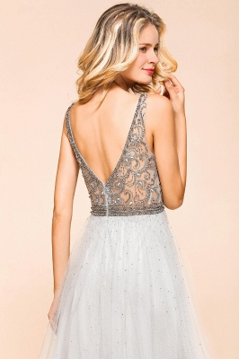 Charming V-Neck Tulle Long Prom Dress With Crystals_8