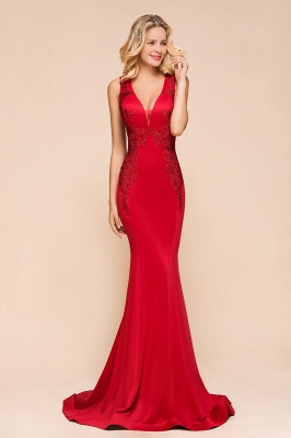 Gorgeous Red Mermaid V-Neck Prom Dress Long With Lace Appliques_5