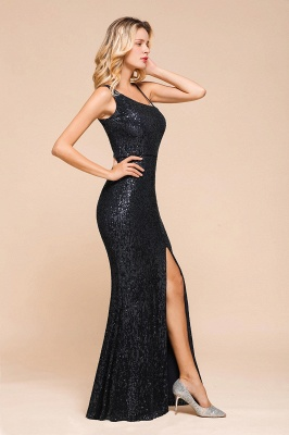 Navy One Shoulder Sequins Prom Dress Long Mermaid Evening Gowns With Split_4
