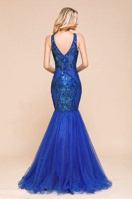 Gorgeous Royal Blue Mermaid Prom Dress | Long Sequins Evening Party Gowns_3