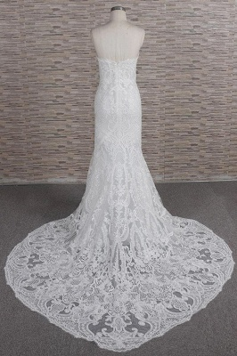 Chic Sweetheart Mermaid Lace Wedding Dress | White Sleeveless Bridal Gowns With Appliques_3