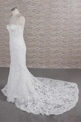 Chic Sweetheart Mermaid Lace Wedding Dress | White Sleeveless Bridal Gowns With Appliques_4