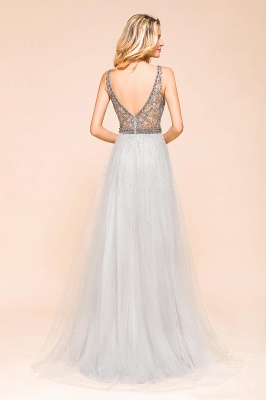 Charming V-Neck Tulle Long Prom Dress With Crystals_3
