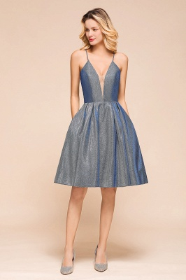 Shinning Halter V-Neck Prom Dress | Short Homecoming Dress