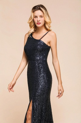 Navy One Shoulder Sequins Prom Dress Long Mermaid Evening Gowns With Split_5