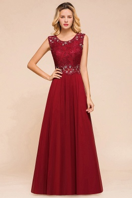 Burgundy Lace Long Prom Dress | Sleeveless Chiffon Evening Gowns With Crystal_1