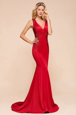 Gorgeous Red Mermaid V-Neck Prom Dress Long With Lace Appliques_4