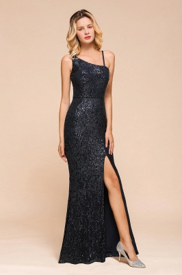 Navy One Shoulder Sequins Prom Dress Long Mermaid Evening Gowns With Split_6