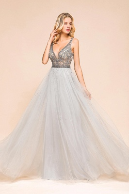 Charming V-Neck Tulle Long Prom Dress With Crystals_9