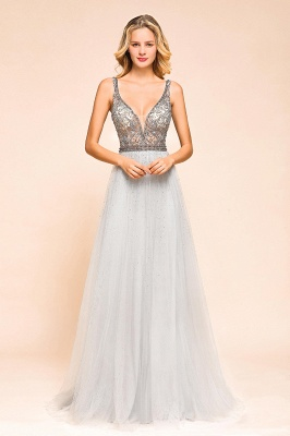 Charming V-Neck Tulle Long Prom Dress With Crystals_6
