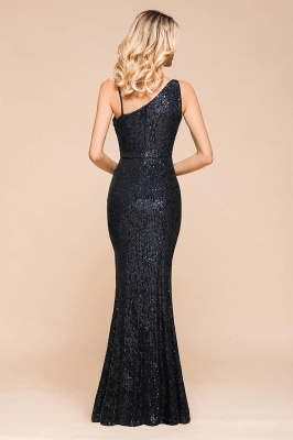 Navy One Shoulder Sequins Prom Dress Long Mermaid Evening Gowns With Split_3