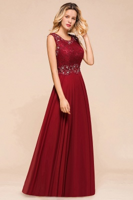 Burgundy Lace Long Prom Dress | Sleeveless Chiffon Evening Gowns With Crystal_7