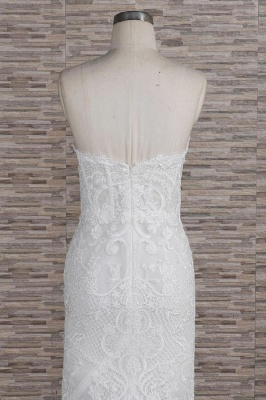 Chic Sweetheart Mermaid Lace Wedding Dress | White Sleeveless Bridal Gowns With Appliques_7