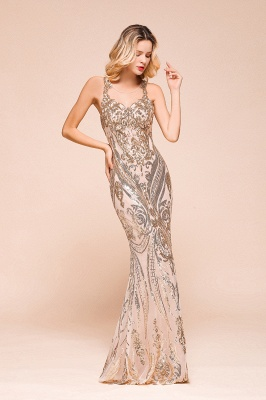 Gorgeous Champagne Sequins Mermaid Prom Dress | Long Evening Gowns_6