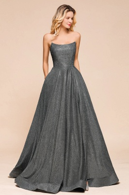 Shinning Strapless Long Prom Dress | Lace-up Evening Gowns With Split_5