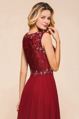 Burgundy Lace Long Prom Dress | Sleeveless Chiffon Evening Gowns With Crystal_8