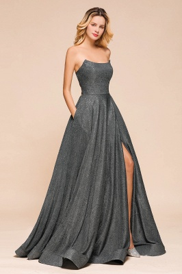 Shinning Strapless Long Prom Dress | Lace-up Evening Gowns With Split_8