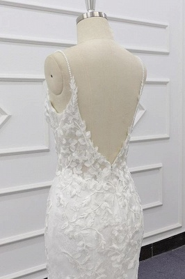 Chic Spaghetti Straps Sleeveless Mermaid Wedding Dress | White Lace Bridal Gowns With Appliques_8