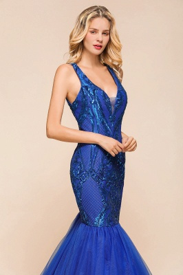 Gorgeous Royal Blue Mermaid Prom Dress | Long Sequins Evening Party Gowns_5