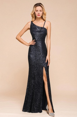 Navy One Shoulder Sequins Prom Dress Long Mermaid Evening Gowns With Split_1