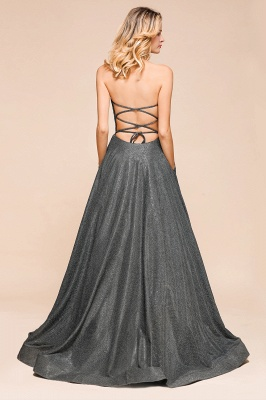 Shinning Strapless Long Prom Dress | Lace-up Evening Gowns With Split_4