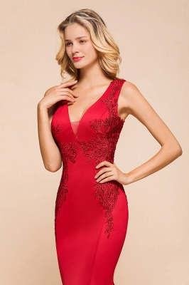 Gorgeous Red Mermaid V-Neck Prom Dress Long With Lace Appliques_8