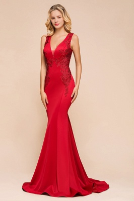 Gorgeous Red Mermaid V-Neck Prom Dress Long With Lace Appliques_9