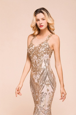 Gorgeous Champagne Sequins Mermaid Prom Dress | Long Evening Gowns_7
