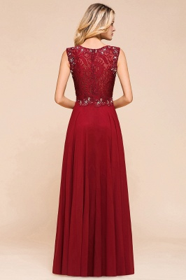 Burgundy Lace Long Prom Dress | Sleeveless Chiffon Evening Gowns With Crystal_3