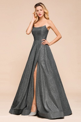 Shinning Strapless Long Prom Dress | Lace-up Evening Gowns With Split_6