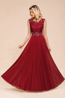 Burgundy Lace Long Prom Dress | Sleeveless Chiffon Evening Gowns With Crystal_5