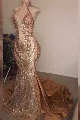 Sexy High-Neck Sequins Mermaid Prom Dress Long Evening Gowns Online_3
