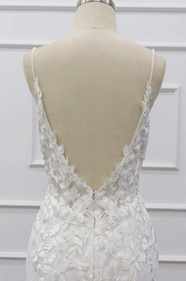 Chic Spaghetti Straps Sleeveless Mermaid Wedding Dress | White Lace Bridal Gowns With Appliques_9
