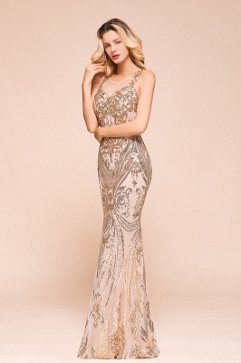 Gorgeous Champagne Sequins Mermaid Prom Dress | Long Evening Gowns_4