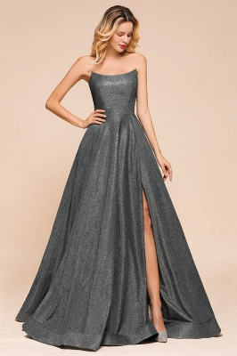 Shinning Strapless Long Prom Dress | Lace-up Evening Gowns With Split_3