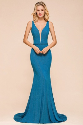 Shinning Blue Mermaid Long Prom Dress | V-Neck Sleeveless Long Evening Gowns
