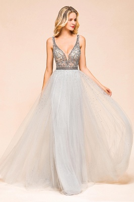 Charming V-Neck Tulle Long Prom Dress With Crystals_7