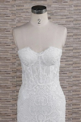Chic Sweetheart Mermaid Lace Wedding Dress | White Sleeveless Bridal Gowns With Appliques_5