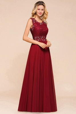 Burgundy Lace Long Prom Dress | Sleeveless Chiffon Evening Gowns With Crystal_4