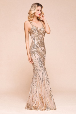 Gorgeous Champagne Sequins Mermaid Prom Dress | Long Evening Gowns_5